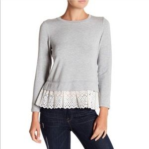 Rebecca Taylor Eyelet Terry Long Sleeve Top Knit
